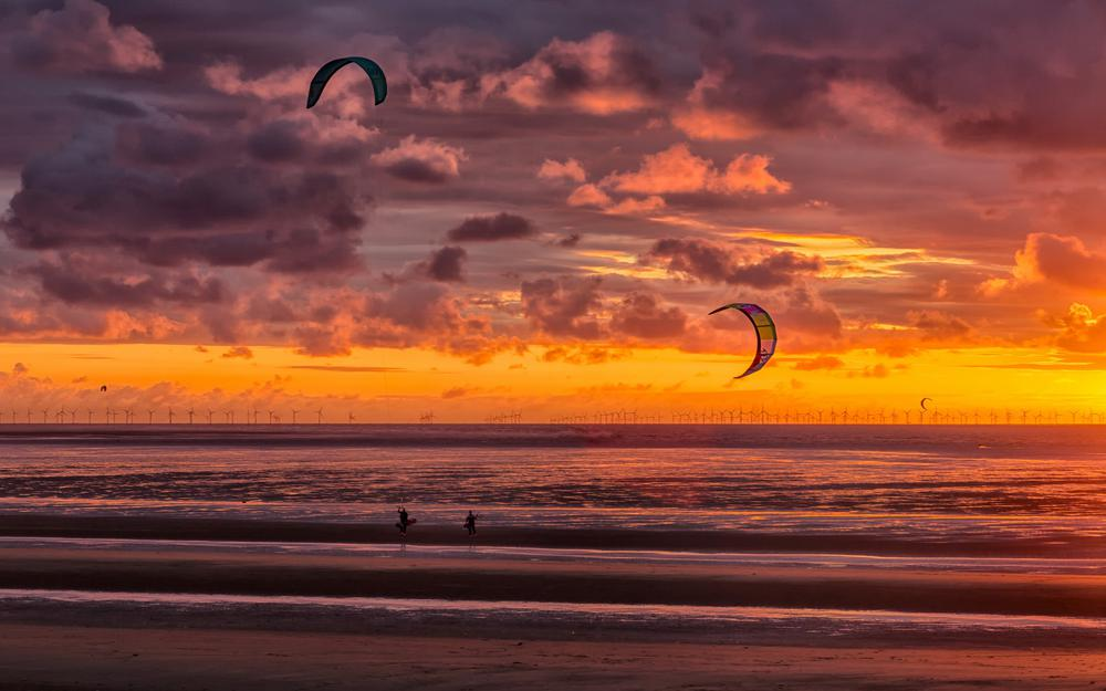 Beach, new brighton, sunset, kite surfers