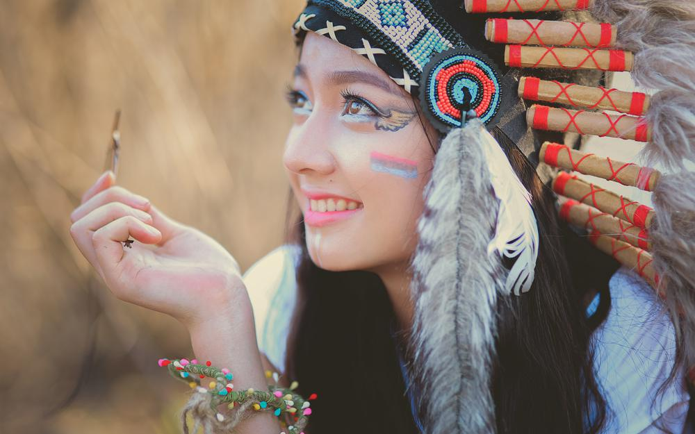 Coloring book, summer, girl, headdress, face, smile, feathers