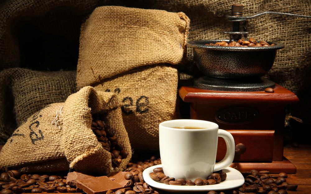 Coffee grinder, coffee, grains, little things, cup, coffee, saucer, chocolate, drink