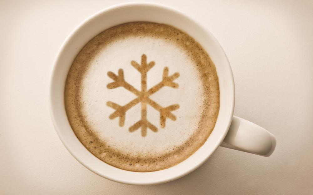 Snowflake, cup, foam, drink, white, coffee, cappuccino