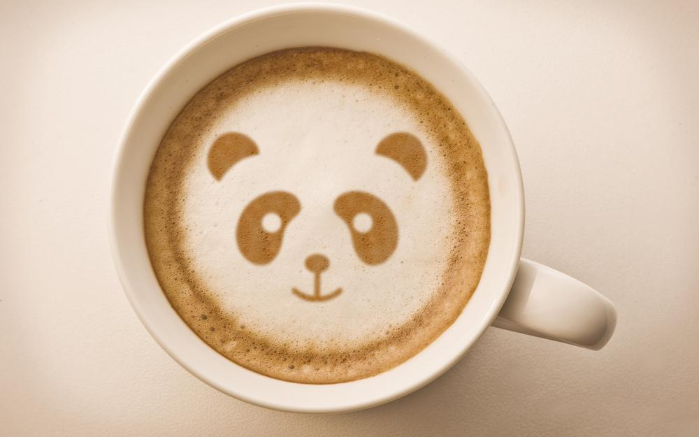 Coffee, panda, drawing, foam, mug