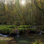Natural forest creek waterfall trees sunlight landscape desktop wallpaper