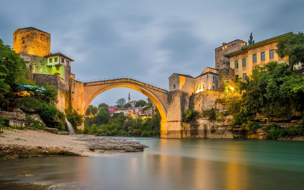Mostar ancient bridge river landscape