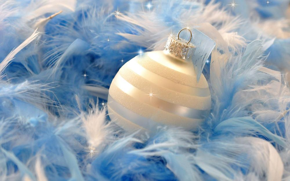 Ball, blue, christmas decorations, feathers wallpaper