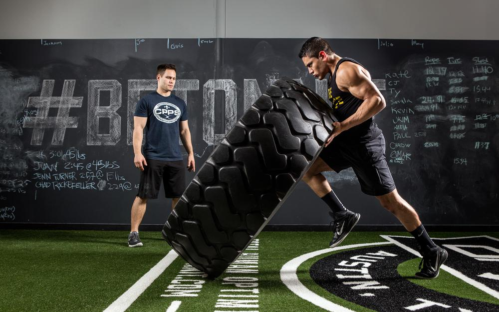 Strength, giant tire, pose, crossfit