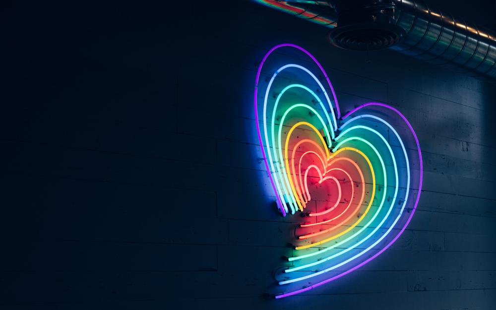 Lighting, neon, heart wallpaper