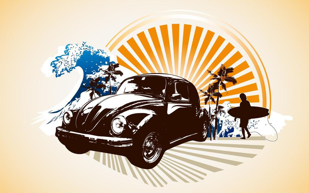 Sunset, palm trees, wave, volkswagen beetle, surfer