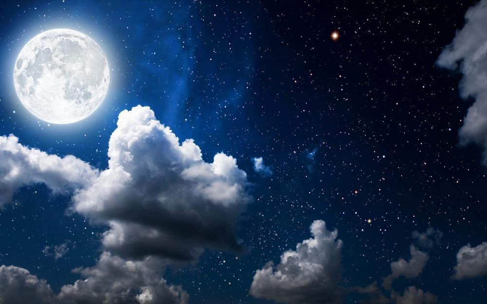 Light, moon, stars, night, sky, clouds, desktop wallpaper