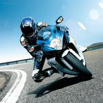 A tight turn on a motorcycle