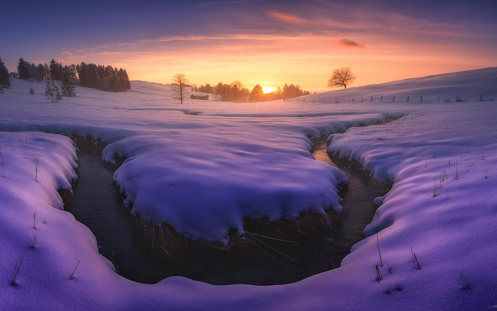 Winter, heavy snow, snow, mountains, sunset desktop wallpaper