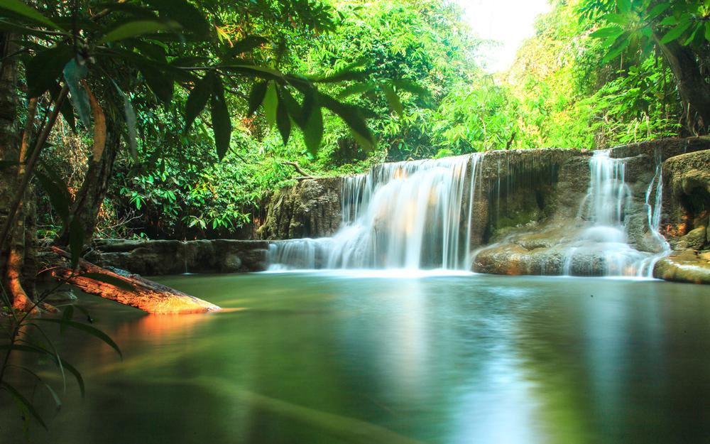 Green forest sunshine stream waterfall thailand landscape desktop wallpaper