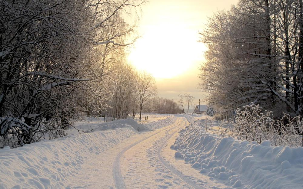 Road in the snow to the village wallpaper