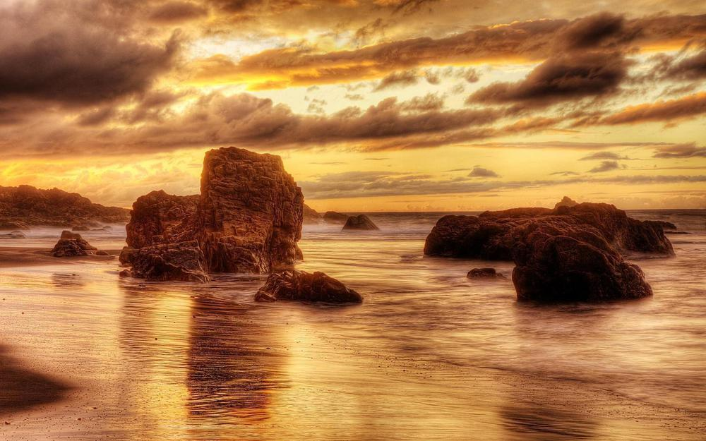 Stones sunset sea wallpaper