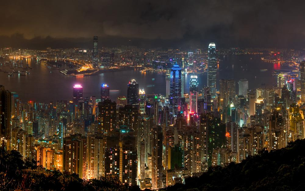 Hong kong night landscape wallpaper