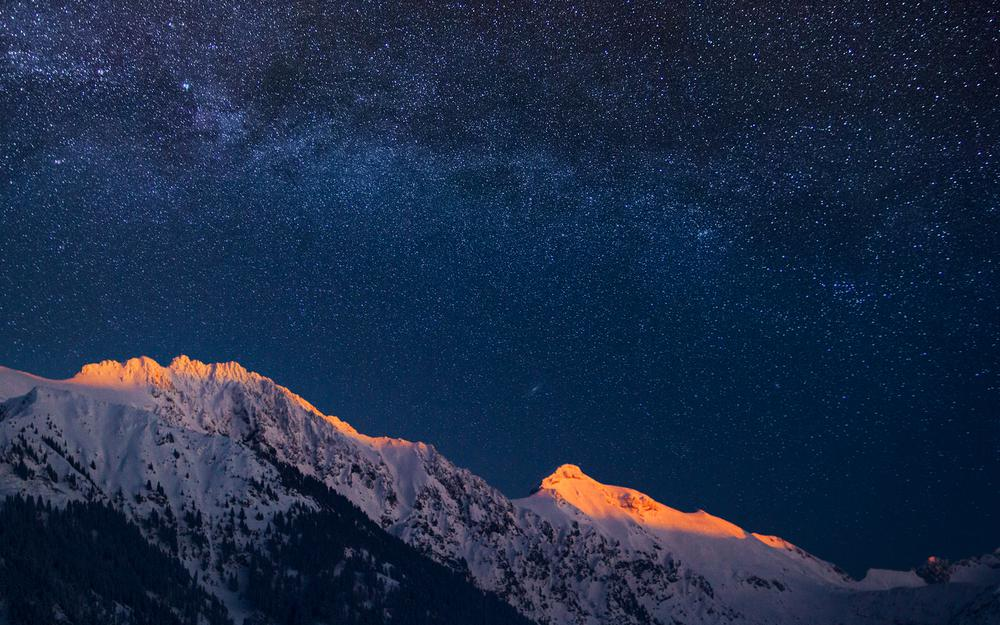 Alps milky way landscape desktop wallpaper