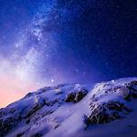 Snow mountain, night, beautiful starry sky 2k landscape wallpaper