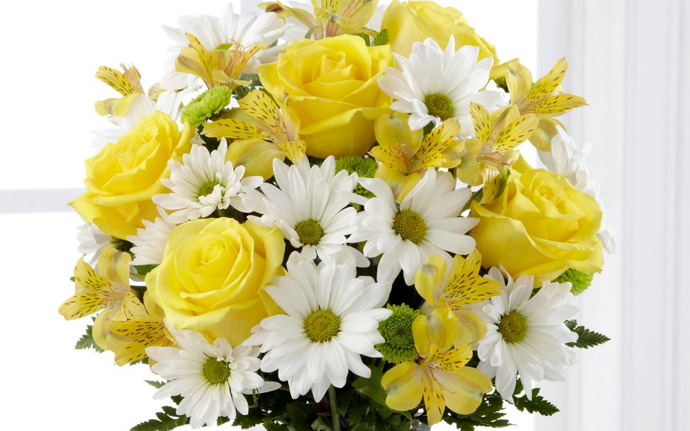 Alstroemeria, flowers, yellow, chrysanthemums