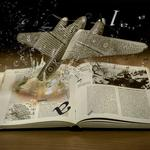 Airplane, book, paper, explosion