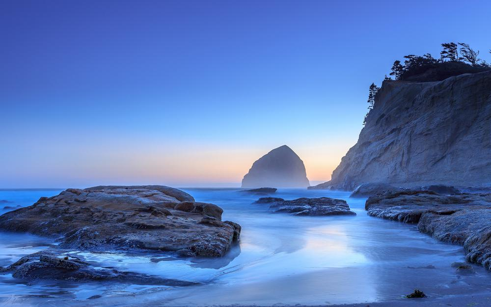 Oregon pacific city sunset scenery 2k desktop wallpaper