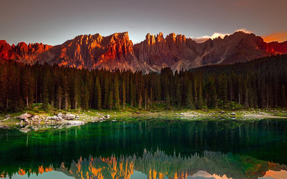 Forest mountain lake morning landscape desktop wallpaper