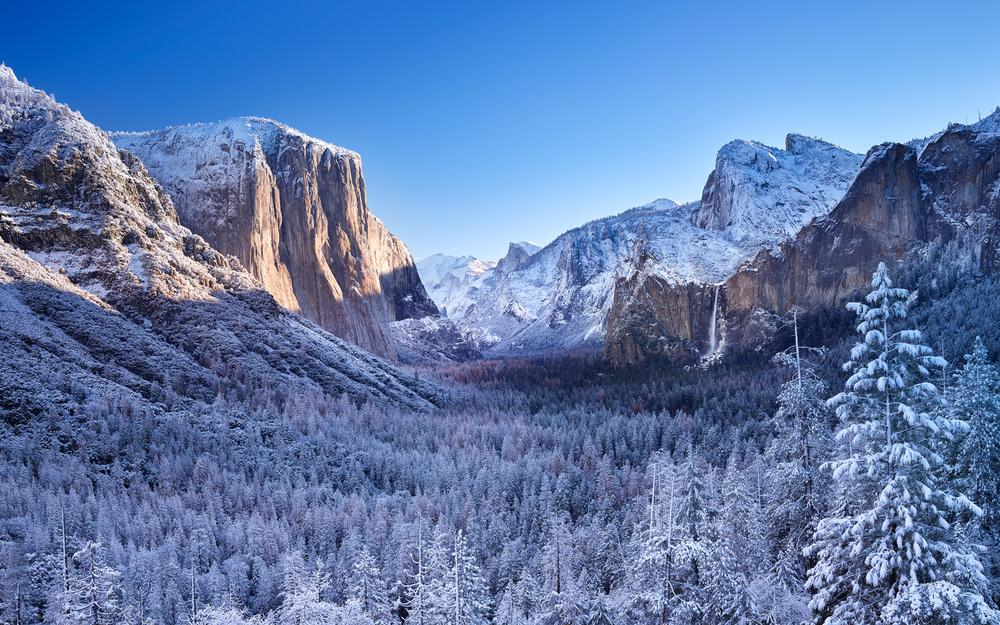 Yosemite national winter landscape desktop wallpaper