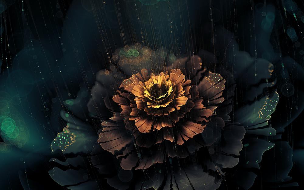 3d, fractal, graphics, rays, flower, abstraction, shine