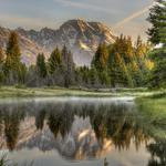 Forest, mountains, river, nature, reflection