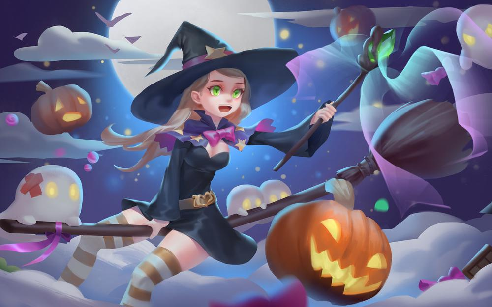 Halloween small magic women wallpaper