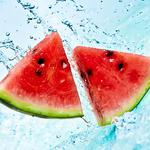 Watermelon in jets of water