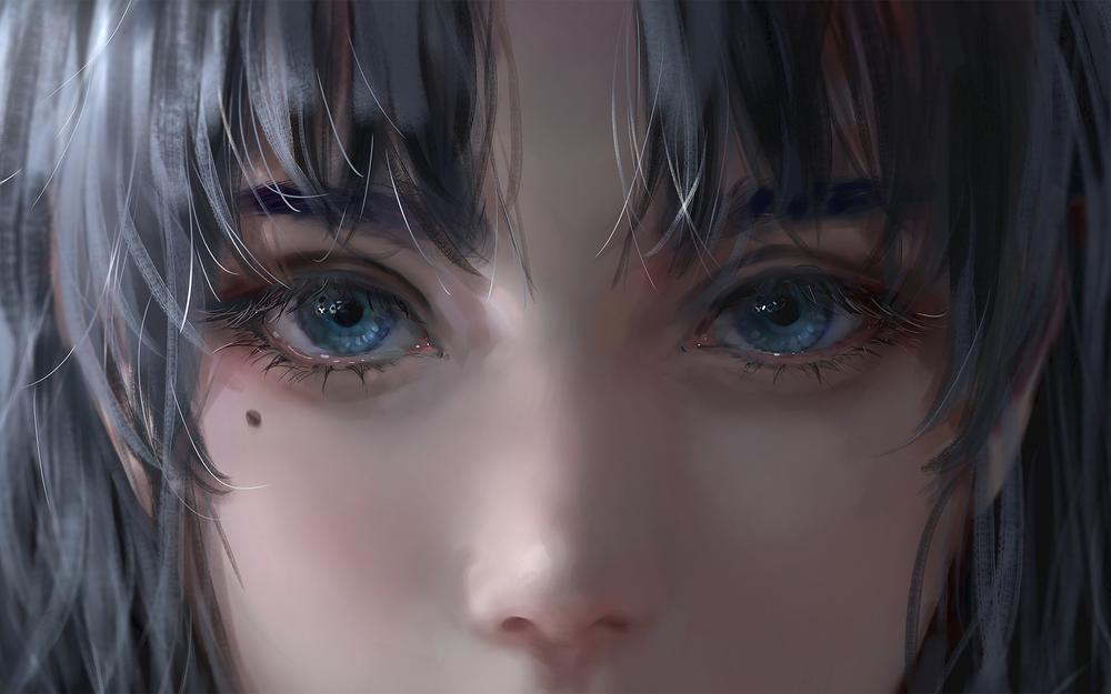 Teenage face eye nose thick painting hd anime character wallpaper