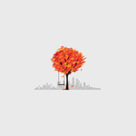 Digital art, trees, city landscape