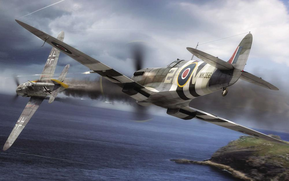 Painting, luftwaffe, royal air force, ww2, dogfight, spitfire f.mk.ix, bf.109g-6