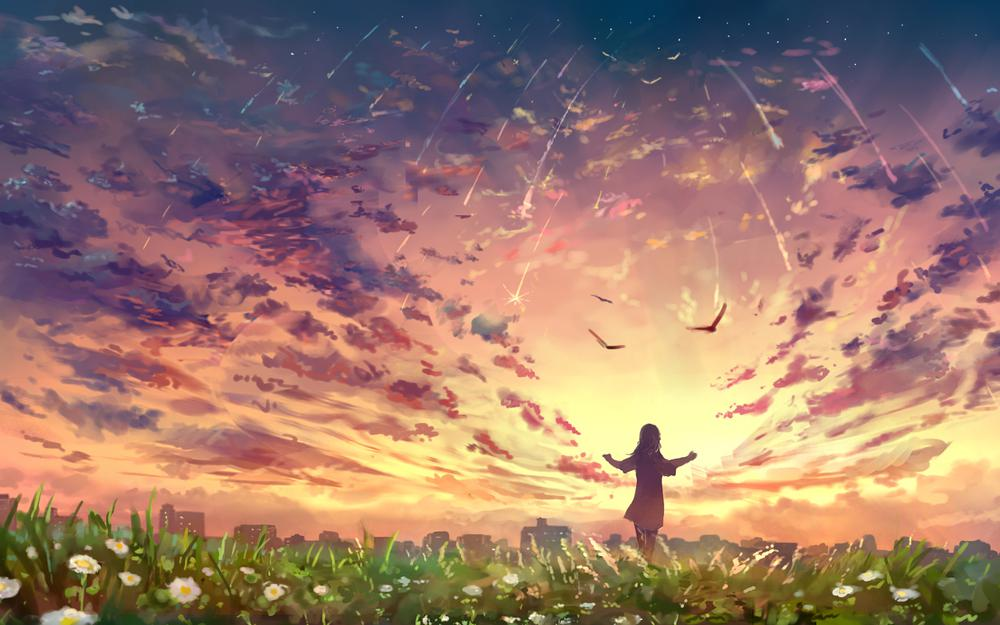 Teenage player landscape sky cloud anime wallpaper