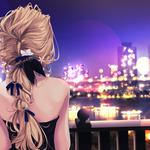 City night view girl back back cover