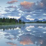 River, sky, oxbow bend, national park, clouds, usa, reflection, trees, grand titon, mountains, wyoming, forest