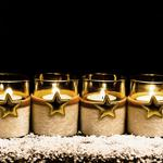 Candles, stars, sequins