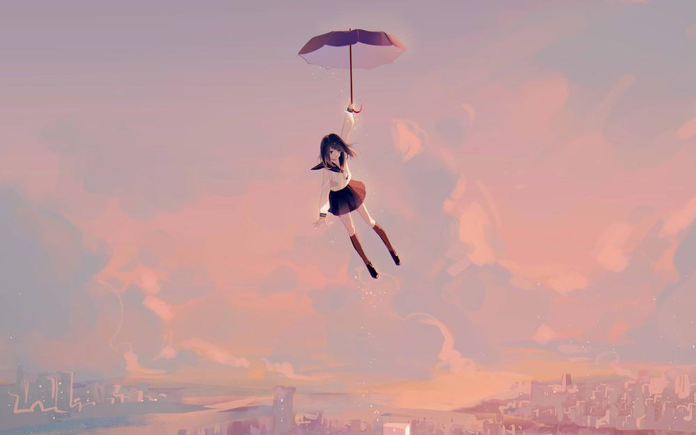 Sky girl with umbrella with an intense wallpaper
