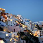 City, mountains, evening, houses, lights