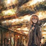 Ruins of the ruins of the landscape girl autumn light anime wallpaper