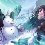 Bunny, anime, ruins, city, winter, snow, girl