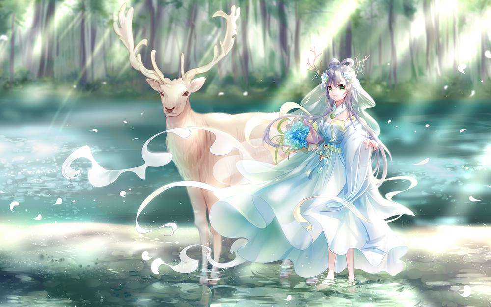 Luo days depending on water deer forest green days by author: yaduo zheng dumplings anime wallpaper