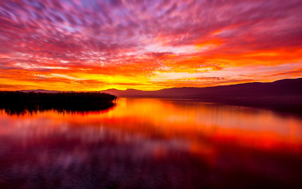 Landscape, dawn, sky, lake, mountains, forest