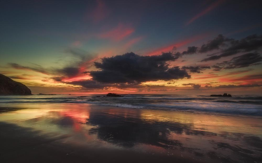 Nz, dawn, new zealand, ocean, sky, tuchi, beach, waikato