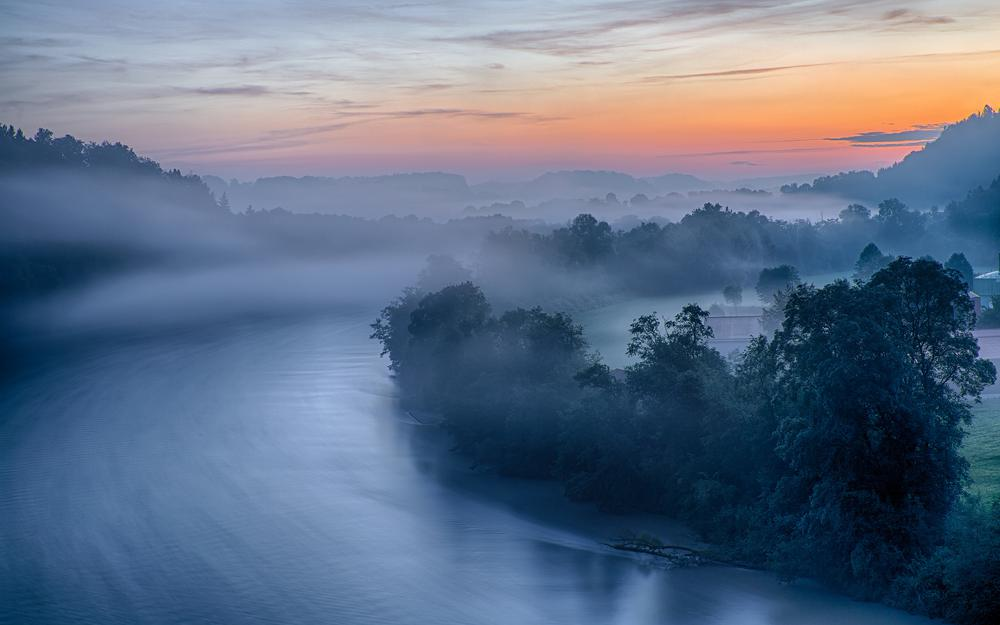 Germany, river, bavaria, fog, dawn, morning