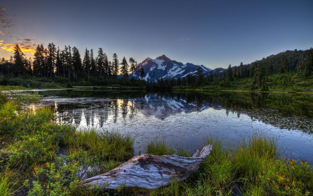 Lake, nature, mountains, dawn, forest