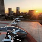 Helicopter roof sunset city