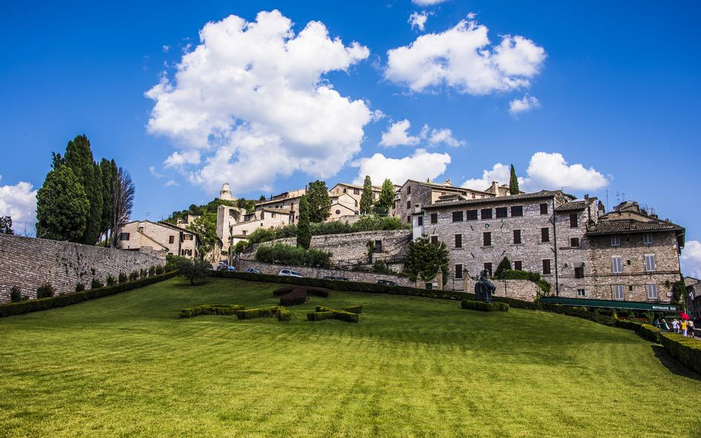 Assisi, italy, buildings, assisi, lawn