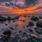 Dawn, stones, sea, landscape,
