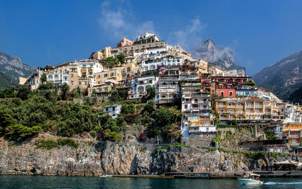 Positano, clouds, houses