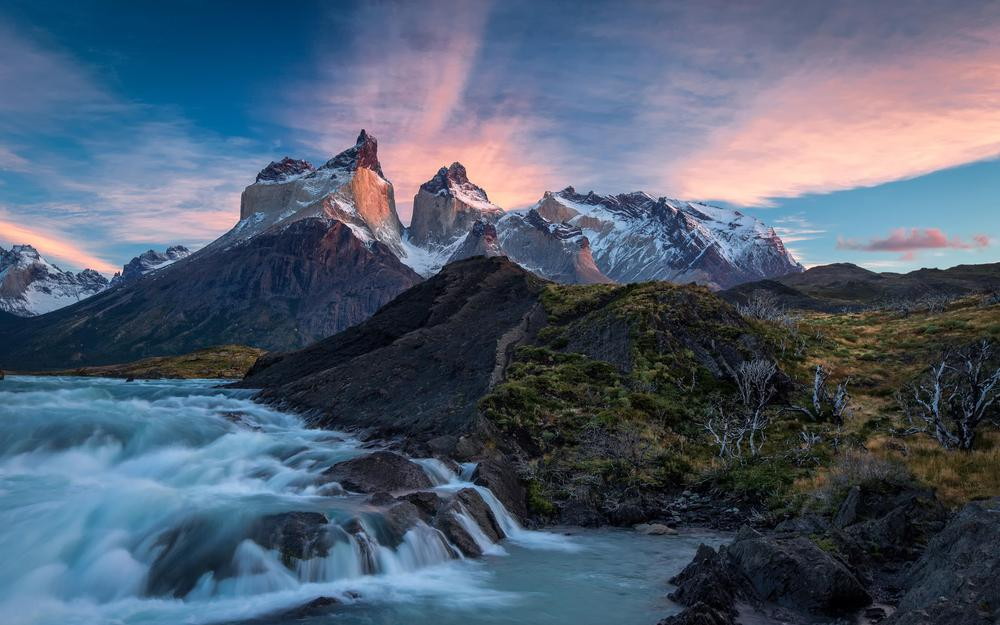 Clouds, river, nature, torres del paine, torres del paine, sunrise, mountains, chile, national park, chile, patagonia